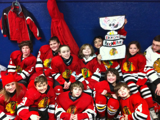 Flat Stanley Cup had a busy weekend. He traveled to his third game with the Rochester Blackhawks Squirt 2 team to the outdoor rink at Jackson's Landing for a 4-4 tie against Oyster River!: Photo submitted by Lisa Saucier