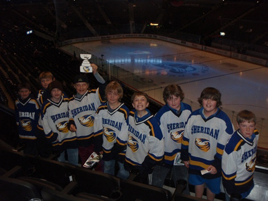 All of the Sheridan Squirt Hawks enjoyed cheering on the Avs with Flat Stanley Cup: Photo submitted by John Chase