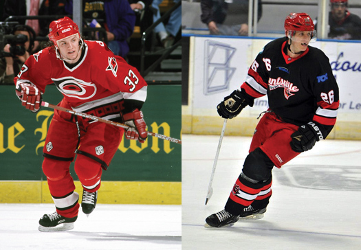 Bates Battaglia was a member of the Carolina Hurricanes team that made it to the 2002 Stanley Cup Finals. Above right, Anthony Battaglia spent 11 seasons in the minors after four years at Western Michigan University.