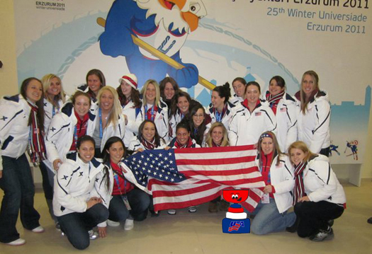 USA sent their first ever women&#039;s team to the 2011 Winter World University Games in Erzurum, Turkey.: Photo submitted by Christina Young