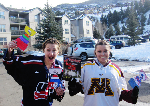 Kathryn Bevin & Jenna Sitte show off their Flat Stanley's and the Jan. issue of USA Hockey Magazine.: Photo submitted by Jenna Sitte