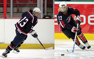 Team USA will rely on Olympic veterans such as Julie Chu, left, and Natalie Darwitz to lead the charge into Vancouver in 2010.