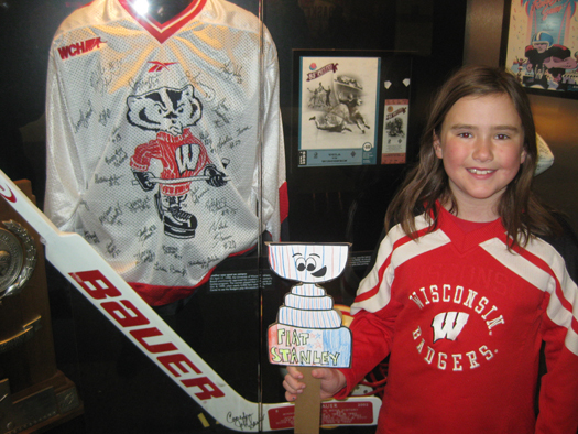 Patty Ruona's daughter,a squirt for the Washington County Youth Hockey Association, took Flat Stanley Cup to the University of Wisconsin Badger Hockey game vs. the Minnesota Gophers at the Kohl Center.: Photo submitted by Patty Ruona
