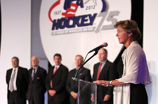 Katey Stone talks about the honor that comes with being named the head coach of the 2014 U.S. Women's Olympic Team during USA Hockey's 75th Anniversary Gala in Colorado Springs.