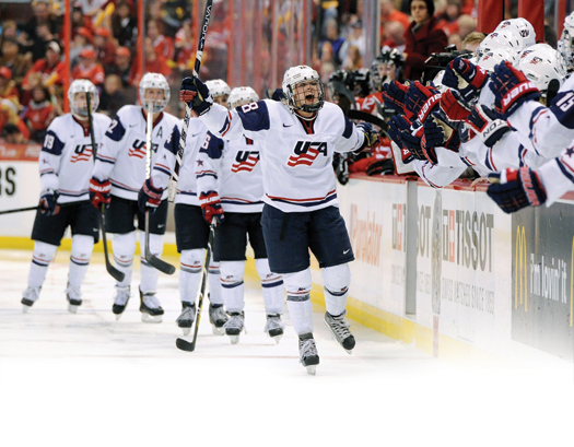 Amanda Kessel celebrates with her teammates after scoring the go-ahead goal against Canada in the gold-medal game.
