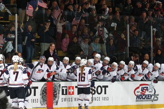 The pro-American crowds that packed the Gutterson Fieldhouse gave the host country a lift at the 2012 IIHF Women's World Championship in Burlington, Vt.