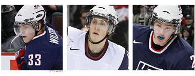 Colin Wilson #33, Jordan Schroeder #19 and James Van Riemsdyk #21.