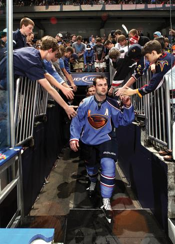 Little did he know that when he greeted the local fans after the last game of the 2010-11 season that Mark Stuart and his Thrashers teammates would be playing their final game in Atlanta.