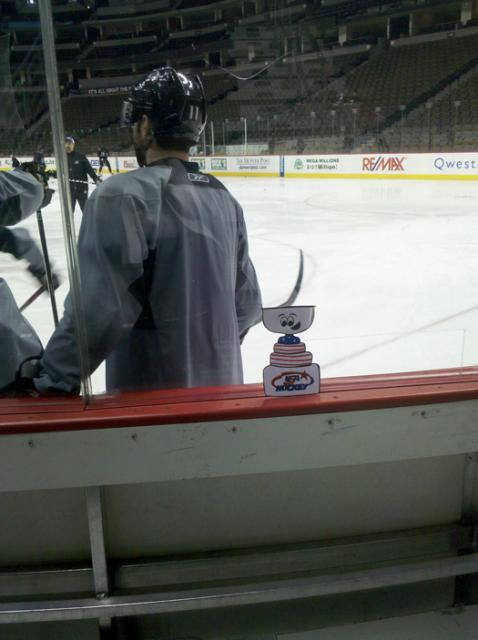 Flat Stanley Cup checks out a Colorado Avalanche Practice: Photo submitted by USA Hockey Magazine