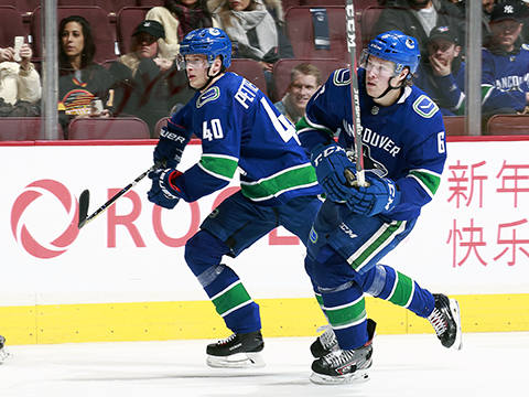 Brock Boeser (right) and Elias Pettersson have Canucks fans extremely excited about the future, and the present.
