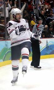 Drury celebrates a goal during the 2010 gold medal Olympic game