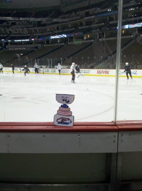Flat Stanley Cup looks for Americans on the Anaheim Ducks team during a morning skate in Colorado: Photo submitted by USA Hockey Magazine