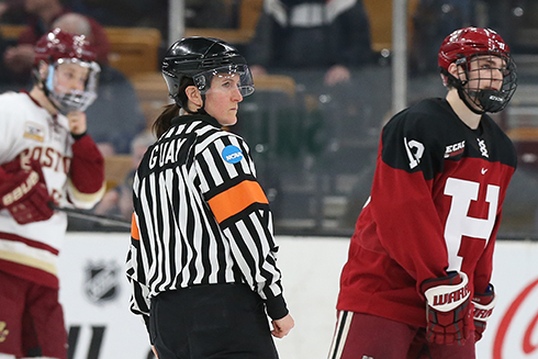 Guay recently became the first women official to work a men's beanpot game, the historic Boston-based college hockey tournament.