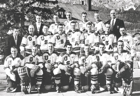 The 1956 Olympic Team with Dick Dougherty, second from left back row, and head coach John Mariucci, upper right.