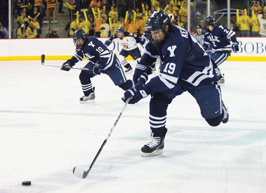 Denny Kearney of Hanover,  N.H., leads the Yale breakout against in-state rival Quinnipiac University.