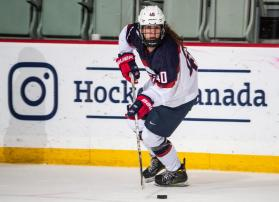 Maddy, 15, participating in the U18 series vs. Canada.