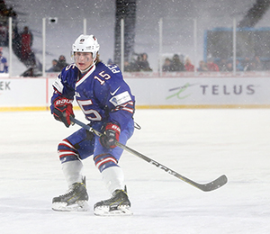 Perunovich scored a goal in the outdoor game against Canada at the 2018 IIHF World Junior Championship, a contest that was mired with heavy snowfall.