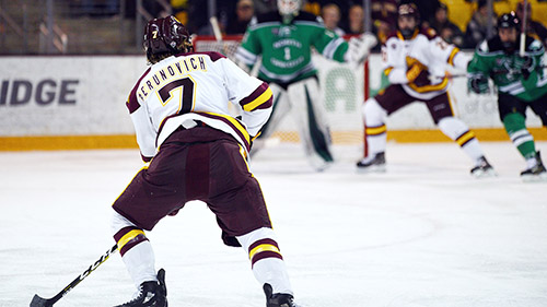 How many more years will Perunovich be terrorizing opposing NCHC teams from the point?