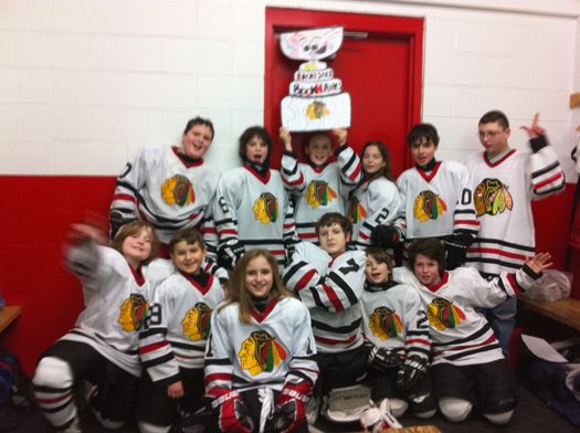 Flat Stanley Cup's first arena for the Rochester Blackhawks Squirt 2 team was there home ice for a great 4 to 2 victory over the Keene Cobras!: Photo submitted by Lisa Saucier