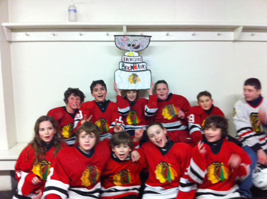 Flat Stanley Cup traveled to Ham Arena in Conway, NH with the Rochester Blackhawks Squirt 2 team for their final game of the season and a 8 - 0 victory over Mt. Washington Valley! Next on to the State Championship!: Photo submitted by Lisa Saucier