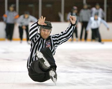 Balance on your skates is crucial, and officials must demonstrate superior skating ability. This time gravity wins out.