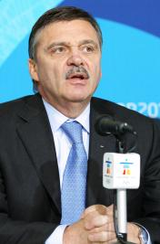 Rene Fasel, president of the IIHF, speaks at the 2010 Winter Olympics