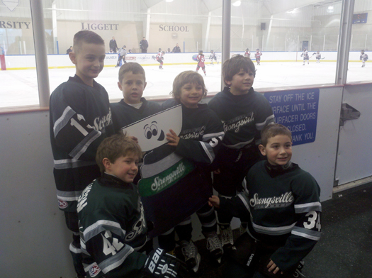 Flat Stanley Cup visits Silver Sticks in St Clair Shores MI with the Strongsville 2002 Mustangs.: Photo submitted by Brad Kostka