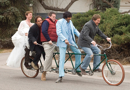 """Eric Stolhanske (in the wedding dress?!) takes a spin with the rest of the Broken Lizard crew on the set of their upcoming movie """"The Slammin' Salmon."""""""
