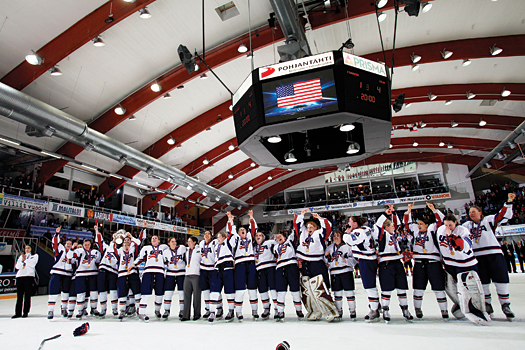 The U.S. Women's National Team belts out the Star Spangled Banner for the third time at the conclusion of an IIHFWorld Women's Championship.