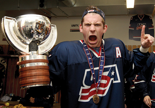 Pat Sieloff celebrates with the Championship Cup after the U.S. National Under-18 Team won its fourth straight title at the 2012 IIHF U18 Men's World Championship.