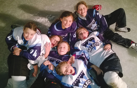 The Colorado Select Girls' Team finds skating on the Richardson Family rink in Indian Hills, Colo., to be a great place to bond