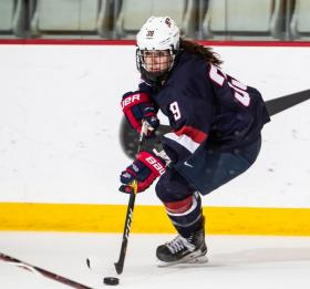 Melissa, 21, taking part in the U22 series vs. Canada.