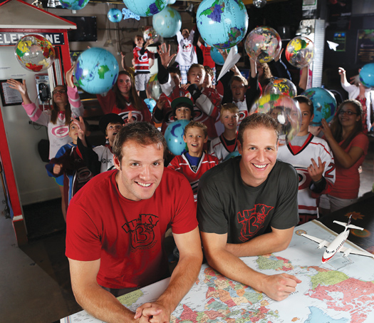 """Members of the Raleigh, N.C., youth hockey community help Bates and Anthony Battaglia celebrate their million-dollar victory in """"The Amazing Race."""""""