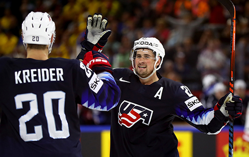 """Chris Kreider has already signed on to represent the U.S. in Slovakia in May. Will Larkin, who wore the """"A"""" and contributed three goals and six assists in ten games last year come as well?"""